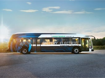 The new battery-powered buses will replace vehicles that have exceeded the recommended 12-year, 500,000-mile useful life of a bus. Photo courtesy of Proterra.