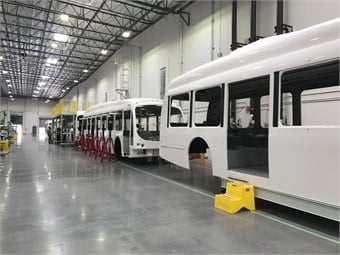 Partially funded by a grant from the California Energy Commission, the 100,000-square-foot facility has the capacity to manufacture 400 buses annually.