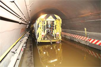 New York City Transit employees pumping water out of the Cranberry Street Tunnel, which carries the A and C trains between Brooklyn and Manhattan underneath the East River.Photo Courtesy MTA