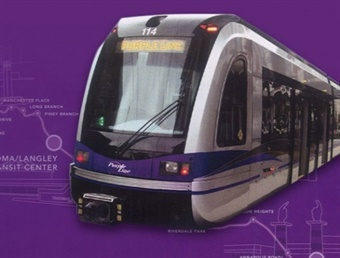 The 16-mile light-rail line, which will run through Montgomery and Prince George's counties, will connect to Metrorail lines, MARC, Amtrak, and local bus services. Photo: Purple Line
