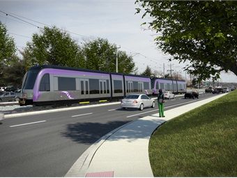 Rendering of Maryland Transit Administration's Purple Line.