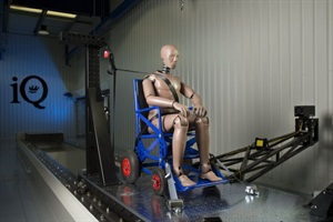 Q'Straint's new iQ Research Center of Excellence includes a crash simulation system and high-speed cameras to help study the dynamics in a crash environment for wheelchair passengers.
