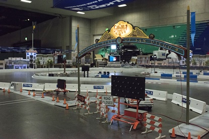The Falken booth includes a1/10th scale track featuring cars with MLB team logos.
