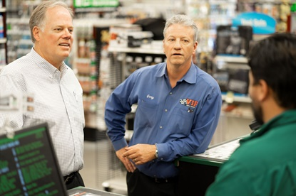 John Quirk and Gary MacCausland are regularly inside the 57 VIP Tires & Service stores. MacCausland spends most of his days on the road, and drives about 1,000 miles each week.