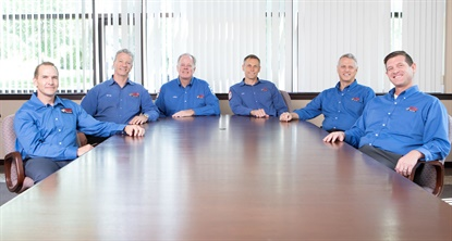 John Quirk gives credit to the executive team that together leads VIP Tires & Service. From left, Dave Roden, Gary MacCausland, Quirk, Tim Winkeler, Allan Kirkland and Scott Pickard.