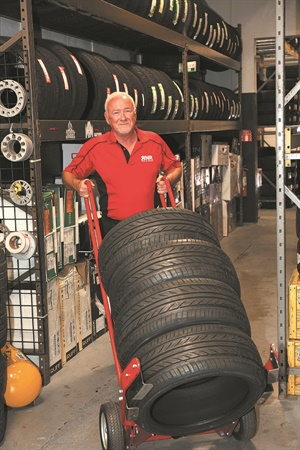 Larry Sutton's favorite responsibilities are visiting stores, attending grand openings and meeting as many new associates and customers around the country as possible. The average inventory per RNR outlet is 100,000 tires.