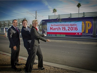(left to right): Phoenix Vice Mayor Daniel Valenzuela, Phoenix Mayor Greg Stanton, and Valley Metro Safety & Security Director Adrian Ruiz.