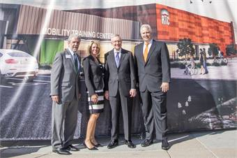 (L to R): Opportunity Village Executive Director Ed Guthrie, RTC GM Tina Quigley, Sen. Harry Reid and Opportunity Village Foundation President Bob Brown celebrate the groundbreaking of the future Mobility Training Center. (Courtesy RTC)