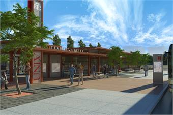 A rendering of the Transit Center at UNLV set to open this fall.