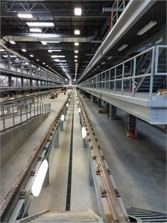 Interior of Denver's rail maintenance bay.