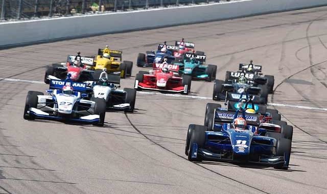Indy Lights racing on the fast Iowa Speedway oval track.