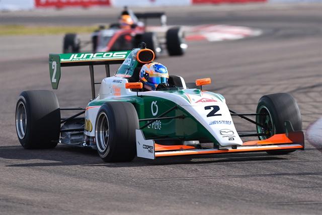 Rinus VeeKay in the Jumbo Supermarkets/La Place Restaurants/KNAF Talent First-Juncos Racing Tatuus-Mazda PM-18.