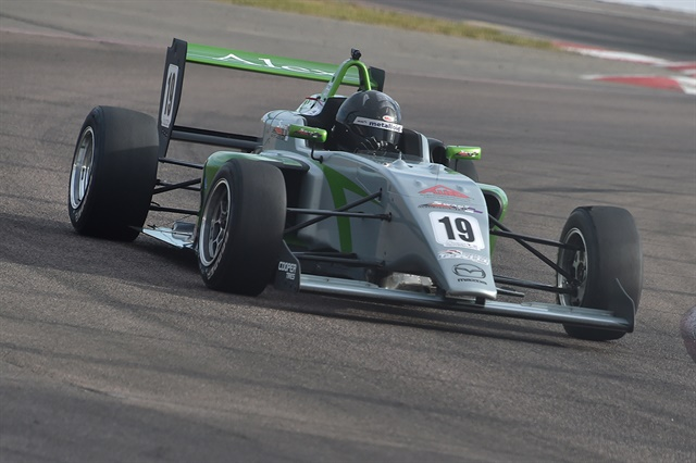 Alex Baronin his No. 19 Swan-RJB Motorsports racer during theGrand Prix of St. Petersburg.