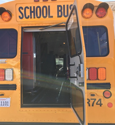 Redding (Calif.) School District installed a warming oven (shown left) inside one of its school buses to keep the food it is delivering to students hot. Photo courtesy Tyson Stenlund