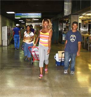 The kids who work on the farm bring their produce to SEPTA headquarters via its Market-Frankford Line.