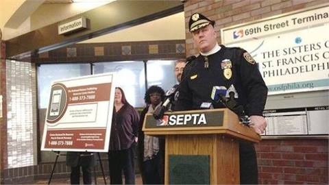 SEPTA Police Chief Thomas Nestel at the 69th Street Transportation Center discussing SEPTA's human trafficking initiatives.