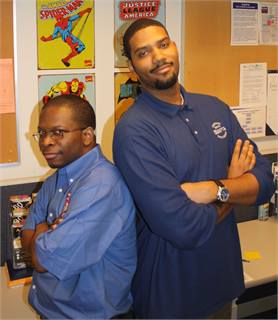 SEPTA Social Media Team members Ikenna Williams (shown left) and James Siler (right.) (Not shown: Mark Bariglio).