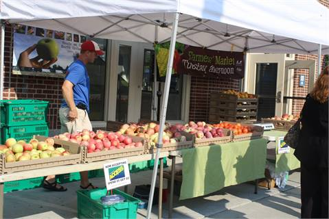 A farmer's market stand at the Frankford Transportation Center in Philadelphia.