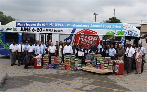 <p>Employees from SEPTA's Frontier Division with their contributions to the annual
