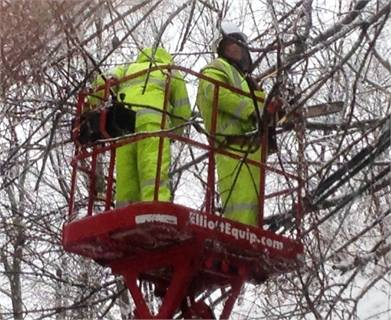 The transit system's engineering, construction and maintenance crews trim trees on the Lansdale/Doylestown Line during the Feb. 5 storm.