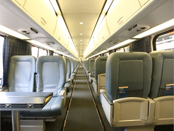 Amtrak is beginning the refresh of the interiors of its Acela Express trains, which will introduce a more modern and comfortable customer experience with new cushions and covers for all seats, new carpet for the aisle runner and a deep clean. Photo: Amtrak