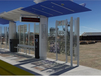 RTC's stations, featuring solar panels and real-time information displays, will integrate glass panels etched with historical photographs relevant to local cultural history. Wood Rodgers/RTC of Washoe County