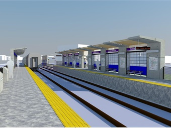 A rendering of the new, fully accessible Chelsea Commuter Rail Station, which will be relocated approximately 1,800 feet west of the existing station for easier, more convenient transfers to the SL3.MBTA