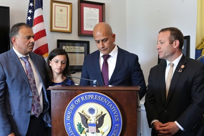 Joevanny Vargas (center), father of Miranda Vargas, who was killed in a New Jersey school bus crash in 2018, joined U.S. Rep. Josh Gottheimer (right) to meet with members of Congress and gather support for school bus safety legislation. Miranda's twin sister Madison and grandfather Johnny (left) also joined in the advocacy effort. Photo courtesy Rep. Josh Gottheimer's office