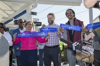 The ribbon cutting ceremony was attended by Mayor Vi Lyles and CATS CEO John Lewis. Photo courtesy of Charlotte Area Transit.