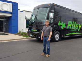 Kevin Riley, who represents the third generation family member to run Riley Bus & Tours, takes delivery of a brand new 2019 MCI J4500 coach at the DesPlaines, Ill., MCI Sales and Service Center. The Murdock, Minn.-based tour and charter company turns 80 this year.