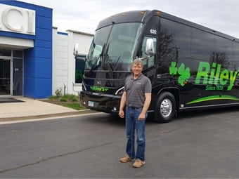 Kevin Riley, who represents the third generation family member to run Riley Bus & Tours, takes delivery of a brand new 2019 MCI J4500 coach at the DesPlaines, Ill., MCI Sales and Service Center. The Murdock, Minn.-based tour and charter company turns 80 this year.MCI