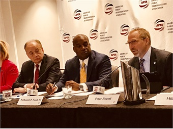 From left APTA President/CEO Paul Skoutelas; APTA Chair and JTA CEO Nathaniel P. Ford Sr; and Sound Transit President/CEO Peter Rogoff.