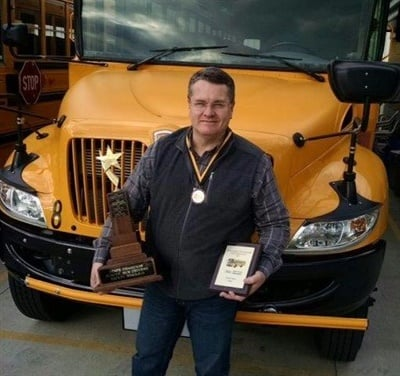 Ross Hamre, from Petermann Bus, won first place at the Ohio School Bus Driver Safety Road-e-o.