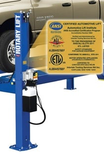 All of Rotary Lift's vehicle lifts currently certified by the Automotive Lift Institute have been recertified to meet the newest ANSI standard covering lift design, construction and testing in North America, ANSI/ALI ALCTV-2011.