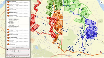 Transfinder is letting clients and other school districts try for free Routefinder PLUS, its new browser-based solution, which can help build and edit routes remotely. Screenshot courtesy Transfinder