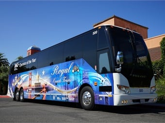"As is tradition, IMG unveiled the ""Operator of the Year"" Motorcoach, designed and installed by Turbo Images, featuring Royal Coach Tours signage along with a collage of images reflecting the key areas that Royal services, Northern California and their newest location, Las Vegas."