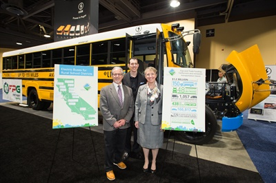 California officials said at the 2018 ACT Expo that the Rural School Bus Pilot Project is delivering dozens of electric school buses to rural districts. The project is part of a disbursement of more than $1.2 billion for more alternative-fuel vehicles in the state. Photo courtesy ACT Expo 2018
