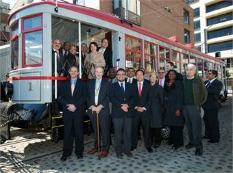 State and local officials, including San Francisco Edwin M. Lee and U.S. Senator Dianne Feinstein (pictured inside the streetcar) gathered to launch the 100th anniversary celebration of the San Francisco Municipal Railway (Muni), founded on December 28, 1912.