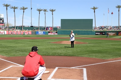 S&S Tire's biggest vendor through ITDG is Hankook, and during Spring Training this year Hankook helped the tire dealer advertise in the outfield of Goodyear Ballpark in Goodyear, Ariz. On March 10, 2019, S&S Tire President Joanne Slagle threw out the first pitch at a game with the billboard in the outfield.