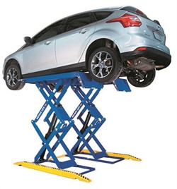 In addition to in-ground or post lifts, space-saving scissor lifts offer an economical choice for quick service jobs and smaller service bays. Shown here is Rotary's new RLP77 double-section scissor lift, which features a low-profile drive-over design and a fully mechanical hydraulic system, providing more than 78 inches of ground clearance.