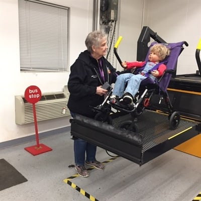 Special-needs drivers and bus aides at MSD of Wayne Township (Ind.) are required to attend training courses offered by the district to ensure the safe travel of students with disabilities. Photo courtesy Metropolitan School District of Wayne Township (Ind.)