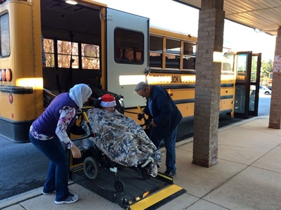 Transportation staff should be present at IEP meetings when a student requires specialized transportation services or equipment, such as a wheelchair, to meet their needs. Photo courtesy Frederick County (Md.) Public Schools