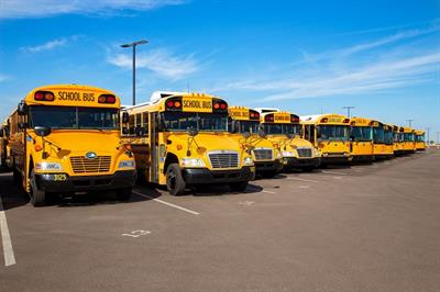 The Chandler USD transportation team advises pupil transporters who are moving to a new facility to have a plan in place in advance for parking lot spots and entrances and exits. Photo courtesy Brock Elliott Photography