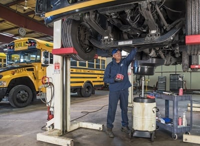 Maintenance for propane school buses includes consistent oil and filter changes, and fueling at routine service intervals. Photo by Erwin Harrison