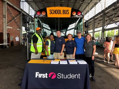 "As part of its communication efforts, First Student staff members participated in a ""Back to School Bash"" when they began a new contract with Hamilton County (Tenn.) Schools. Photo courtesy First Student"