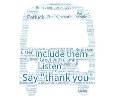 This word cloud highlights simple ways to create and maintain positivity at work. Image courtesy Karen Main
