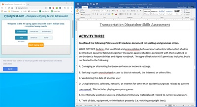 Assessment tool activities 1 and 3 test the dispatcher candidate's typing and proofreading skills. Screenshot courtesy Stuart Vogelman