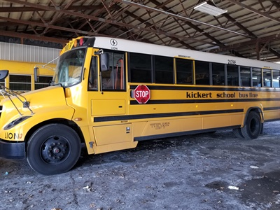 Shown here is one of the two new eLion electric buses that Kickert School Bus in Lynwood, Ill., received with VW settlement funds awarded to parent company Cook-Illinois Corp. Photo courtesy John Benish Jr.