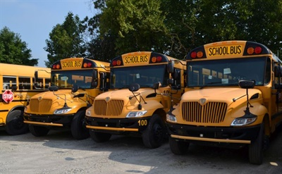 Dealers such as Wolfington Body Co. can help used school bus buyers navigate the wide variety of models and specifications available with detailed information from the manufacturers. Shown here are some of Wolfington's 2012 and 2013 buses.