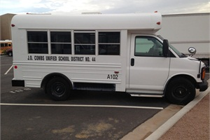 J.O. Combs Unified School District #44 in San Tan Valley, Arizona, offers three 14-passenger activity buses from its white fleet for coaches of small sports teams to drive to nearby out-of-district competitions. All coaches are CDL certified and get school bus driver training.